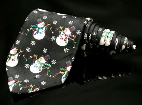 Yule Tie Greetings Men's Snowmen ⛄️ Black Lights Christmas Holiday Dapper Tie