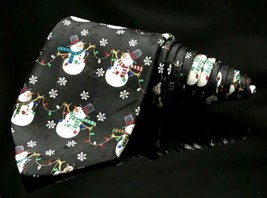 Yule Tie Greetings Men's Snowmen ⛄️ Black Lights Christmas Holiday Dappe... - $17.01