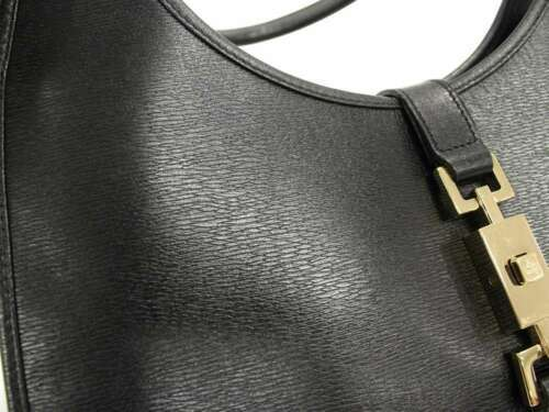 6257b3753154cf GUCCI Shoulder Bag Jackie Leather Black 002.1067 Handbag Italy Authentic  5334056
