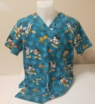 Disney Nursing Scrubs Mickey Minnie Bambi Blue V  Slip On Size S  Vet Tech Nurse - £9.12 GBP