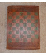 Antique American Primitive Folk Art Painted Green & Red Wood Checkers Game Board - $477.00