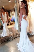 Mermaid Deep V-Neck Backless Sweep Train White Prom Dress And Party Dresses - $179.00