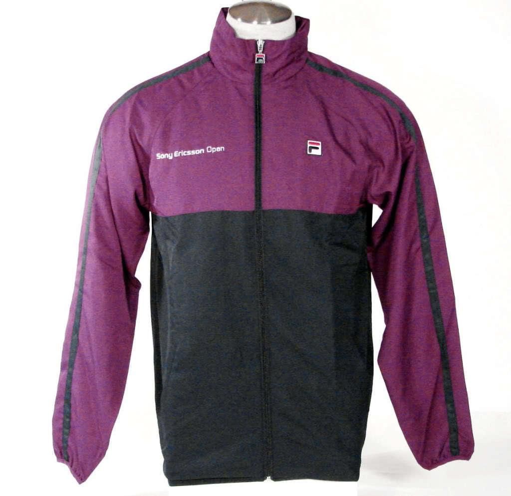 Fila Sony Ericsson Open Hooded Tennis Jacket Purple & Navy Blue Men's NWT - $67.49