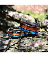 Couples Wedding Band Set His Her Wedding Rings Opal Koa Wood Stainless S... - $119.99