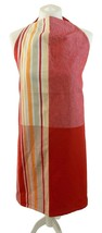 CLIFTON LADELLE STRIPES SQUARES RED ORANGE BEIGE 100% COTTON KITCHEN APRON - $8.54