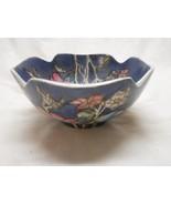 Vintage Heavy Earthenware Oriental Square Rice / Soup Bowl Blue & Pink F... - $8.75