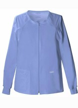 Cherokee Women Long Sleeve Patch Pocket Zip Front Size M Ciel Blue Scrub... - $26.72
