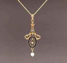 10k Yellow Gold Seed Pearls and Black Enamel Lavaliere Pendant (#J4956) - $247.50
