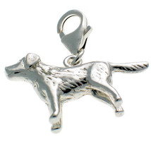 Sterling 925 British Silver Welded Bliss Labrador Dog Lobster Clip Charm - $21.05