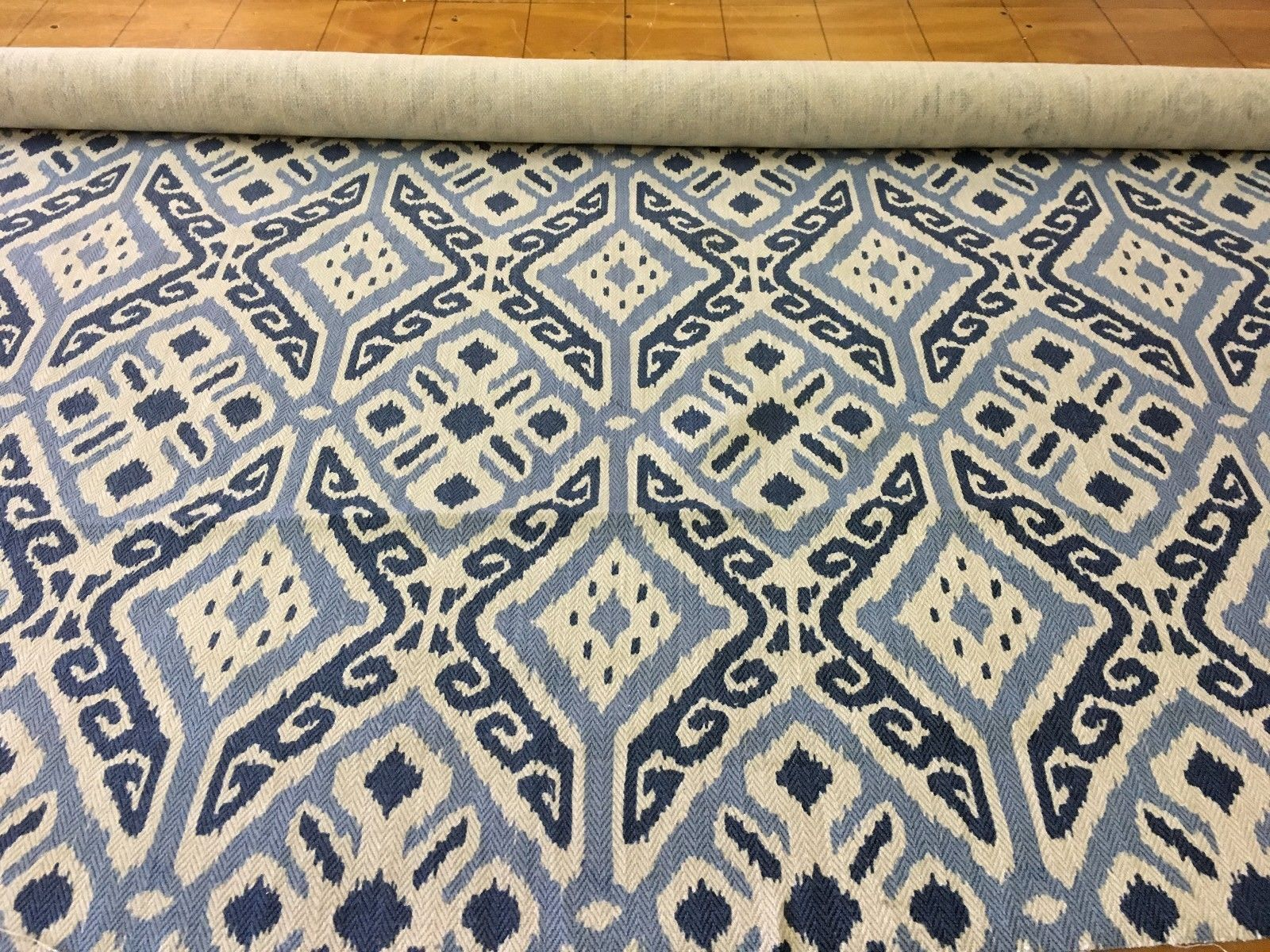2.375 yds Kravet Upholstery Fabric Blue Ikat HB
