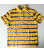 Tommy Hilfiger Mens Polo Striped Short Sleeve Shirt Yellow Blue Size Med... - $38.79