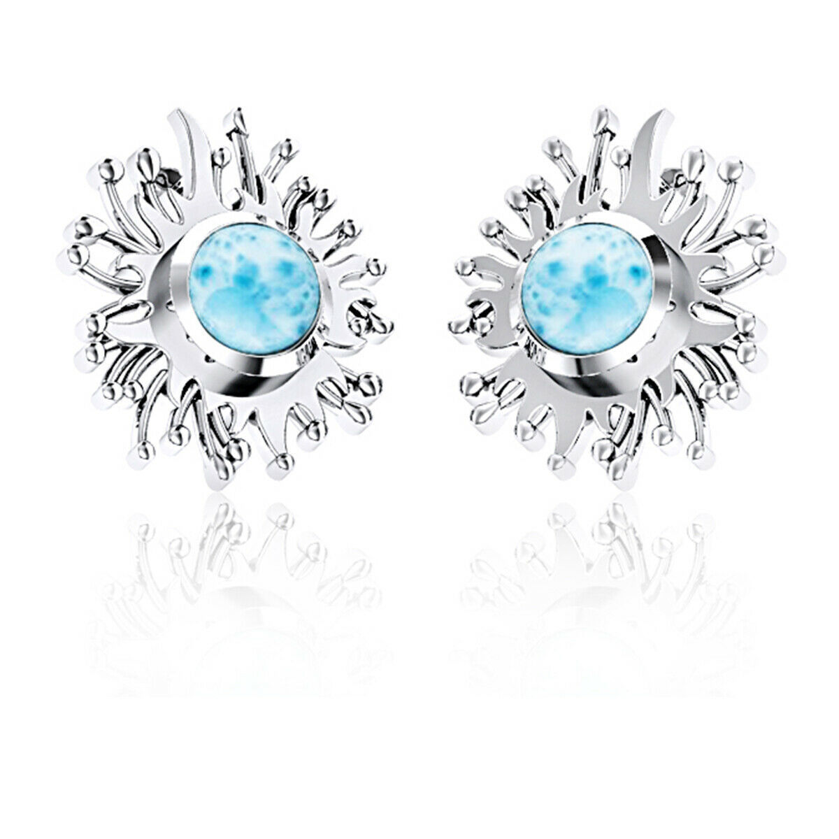 8 MM Round Larimar Daisy Sunflower Lazy Sun Stud Earring 925 Sterling Silver