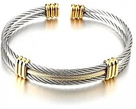 COOLSTEELANDBEYOND Mens Women Stainless Steel Twisted Cable Adjustable ... - $37.92
