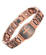 Cross Pattern Magnetic Bracelet For Men Christian Fashion Antique Copper... - $12.90