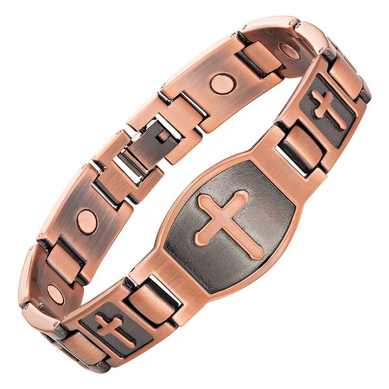 S pattern magnetic bracelet for men christian fashion antique copper charm bracelet jesus christ