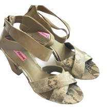 Betsey Johnson snakeskin strappy sandals heels metallic shoes 10 Gold Black - $29.69