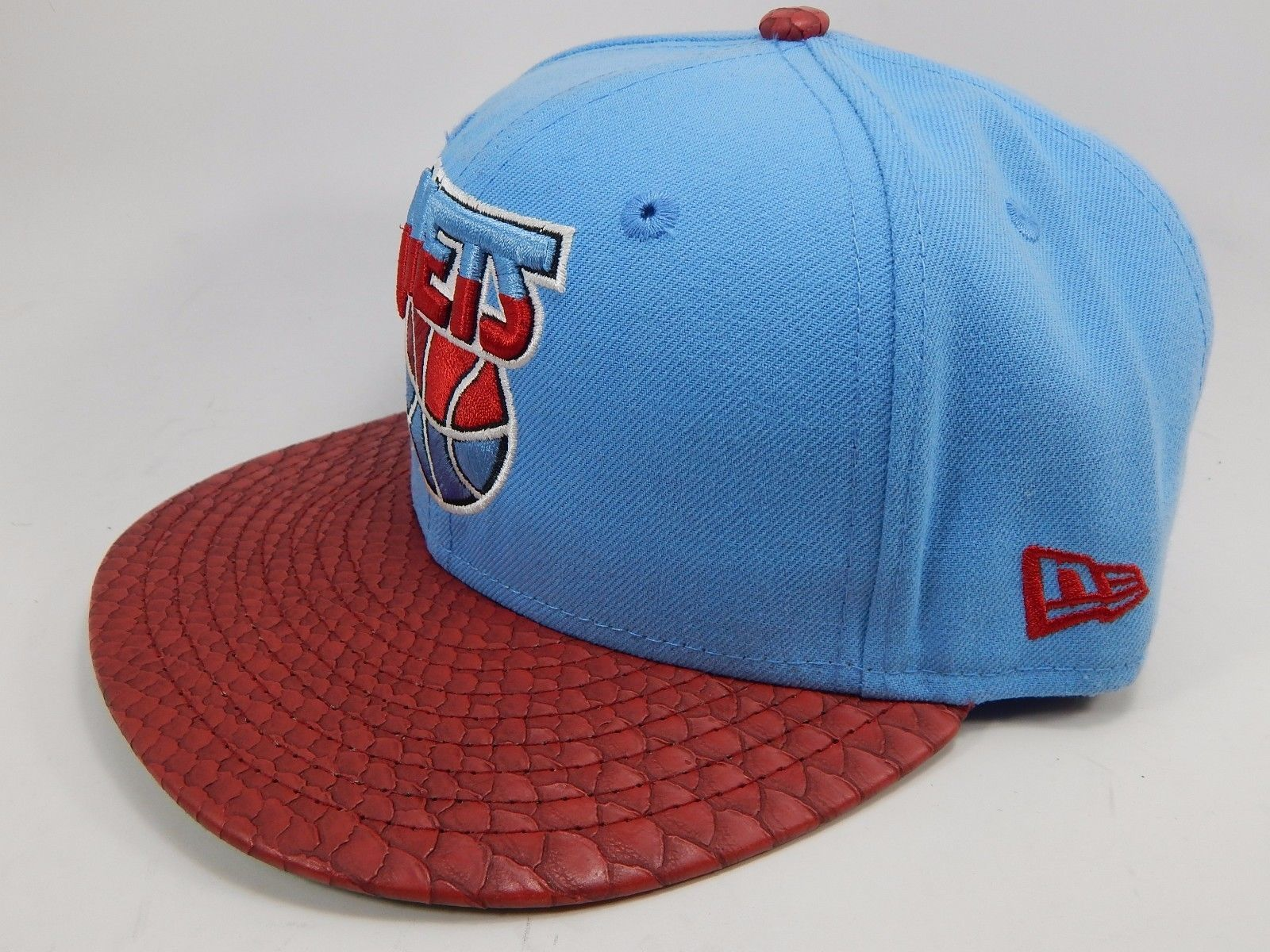 New Jersey Nets New Era Size 7 1/8 Fitted 59Fifty Official NBA Cap Hat Blue Red