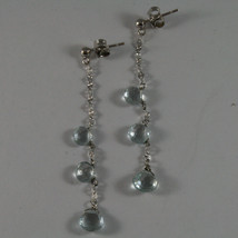 SOLID 18K WHITE GOLD EARRINGS, WITH DROP OF AQUAMARINE LENGTH 2.28 INCHES image 2