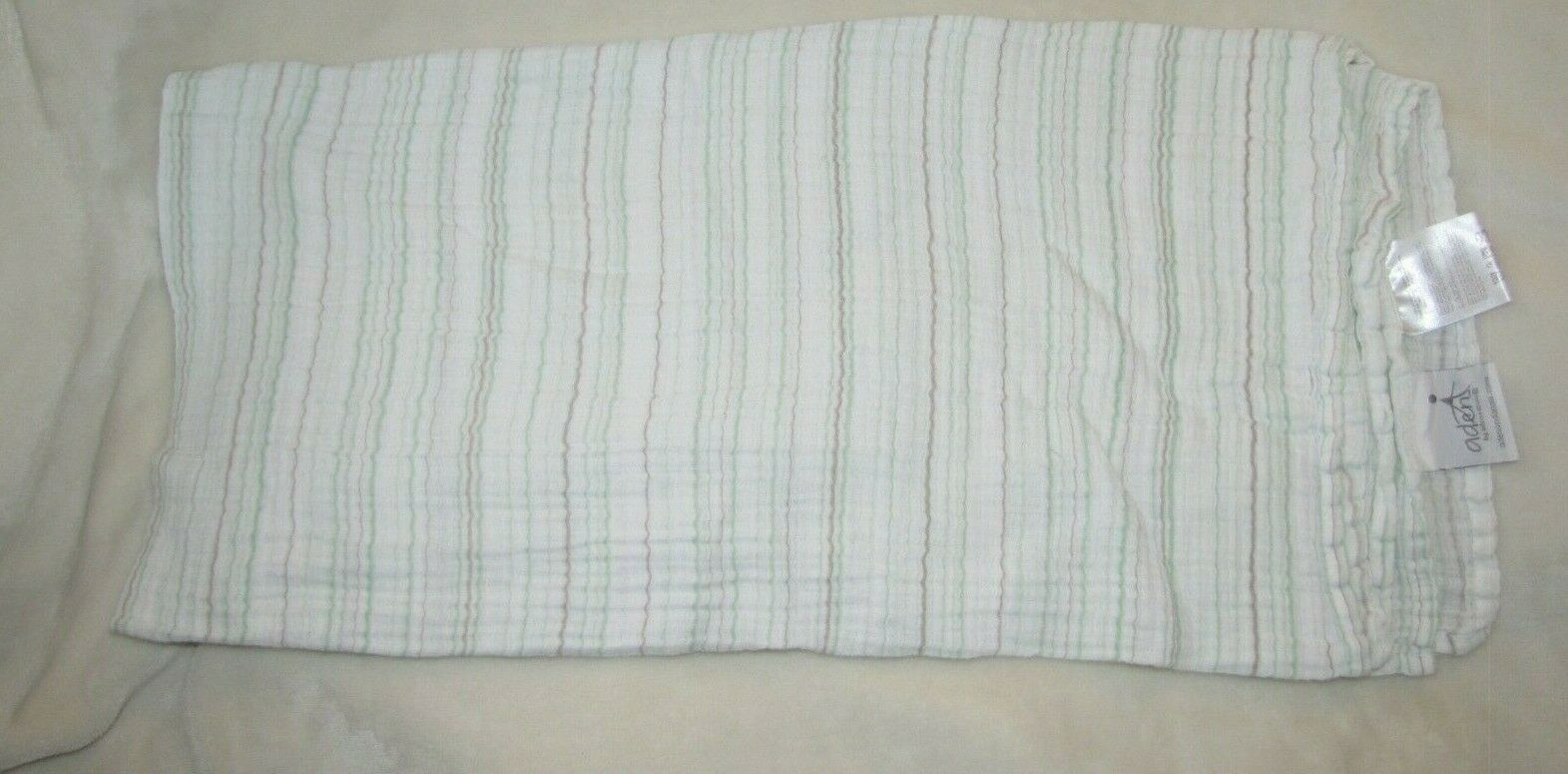 Primary image for Aden + Anais White Mint Green Tan/Brown Thin Stripe Cotton Muslin Baby Blanket