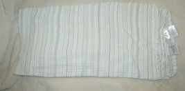 Aden + Anais White Mint Green Tan/Brown Thin Stripe Cotton Muslin Baby B... - $29.69