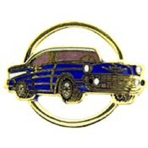 Chevy 1957 Gold Circle Blue Car Emblem Pin Pinback  - $7.91