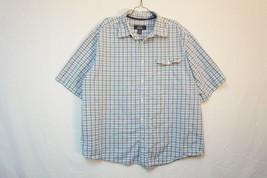 Levis Midweight Short Sleeve Cotton Button-Front Shirt, Checkered, Mens ... - £10.60 GBP