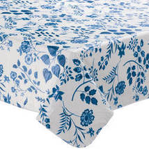 Flowing Flowers Vinyl Tablecovers By Home-Style Kitchen-60X90OBLONG-BLUE - $16.99