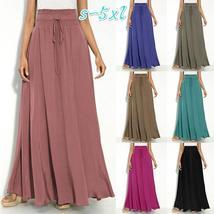 New Fashion Summer Street Grey Skirt Maxi Skirt Elastic Waist Skirt,S-5XL,7 COLO
