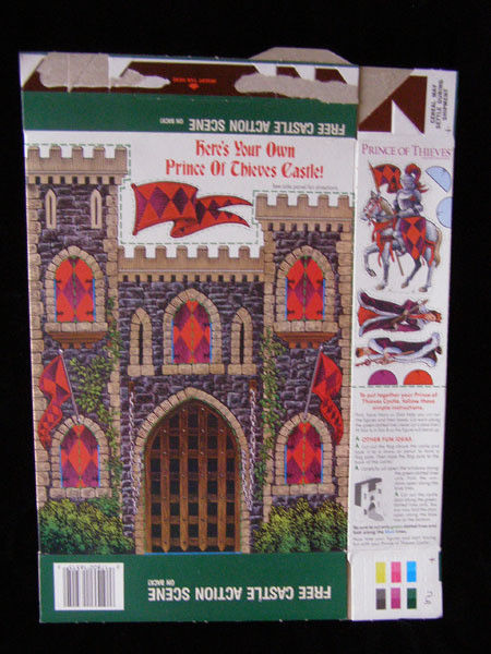 Robin Hood Prince Of Thieves Castle Vintage Cereal Box Flat Empty Box