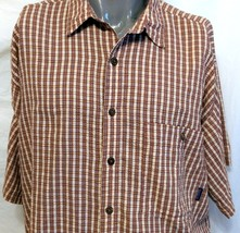 Patagonia Gingham Orange Short Sleeve Casual Shirt Size XL Button Down S... - $33.65