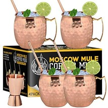 Moscow Mule Copper Mugs - Set of 4-100% Handcrafted - Food Safe Pure Sol... - $30.63