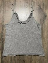 Neiman Marcus Tank Top Sweater 100% Cashmere Ruffle Scoop Neck Gray Grey XL - $20.61
