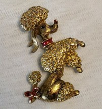Gerrys Poodle Brooch Pin Gold Red Lacquer Bow Christmas Kitsch Jewelry V... - $9.88
