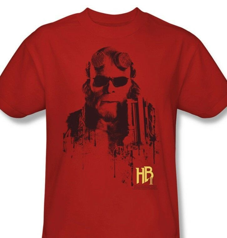 Hellboy II T-shirt retro comic superhero movie graphic cotton red tee UNI114