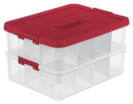 Sterilite 1427 Stack & Carry  2 Layer Ornament Box, Red Lid & Handle, Se... - $23.51