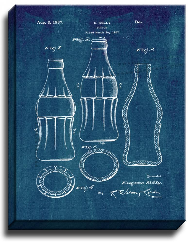 Primary image for Coke Bottle Design Patent Print Midnight Blue on Canvas