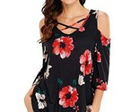 Black Floral Print Three Quarter Sleeve Drop Shoulder Tunic Black Small