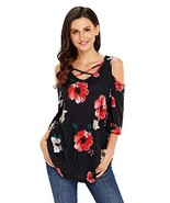 Black Floral Print Three Quarter Sleeve Drop Shoulder Tunic Black Small - £23.09 GBP