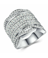 925 Silver unstamped Jewelry Princess Cut White Sapphire Wedding Ring Size 10 - $49.99