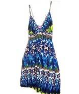 Sz XS-M - She's Cool Blue Tie Dye Batik look Sundress Stretch Dress - £15.52 GBP