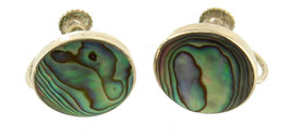 "Vintage Sterling Abalone Screw Back  Earrings Blue Green Purple 5/8"" - $35.99"