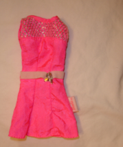 Barbie doll clothes pink short dress with exterior label - $8.99