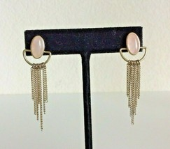 Art Deco Gold Tone Pink Stone Chainlink Dangle Pierced Earrings - $12.86