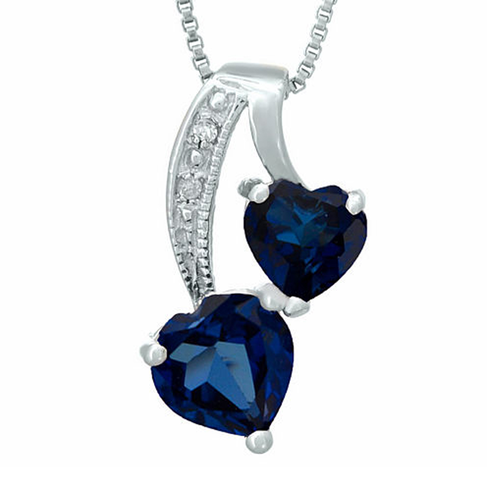 "Primary image for Sapphire and Sim.Diamond 14K White Gold Fn Double-Heart Pendant 18"" Necklace"