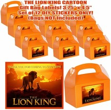 LION KING Party Favor Boxes Thank you Decals Stickers Loots Party 12PC S... - $24.70