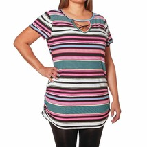 NEW WOMENS PLUS SIZE 2X SUPER SOFT STRIPED TOP RUCHED SIDES AND STRAPPY ... - £12.57 GBP