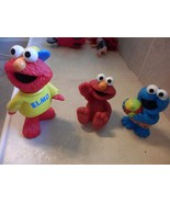 """3 SESAME ST 3-5"""" pvc FIGURES 2 ELMO, COOKIE MONSTER AT BEACH 1998 TO 2013 - $9.19"""