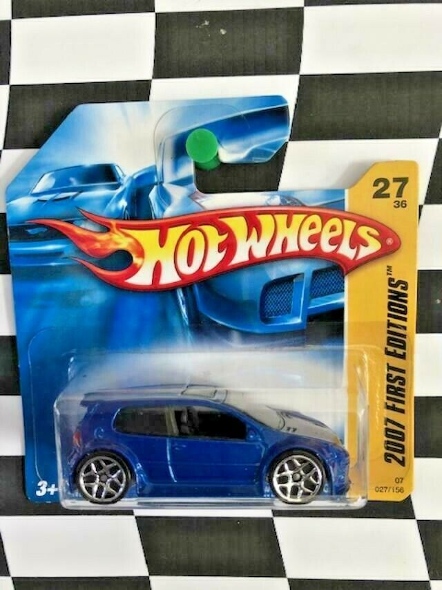 Hot Wheels 2007 New Models First Edition 027 Volkswagen Golf GTI Blue Short Card