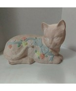 """Vintage Ceramic Cat Pink With Flowers And Bows Approximately 10"""" x 6"""" - $18.12"""