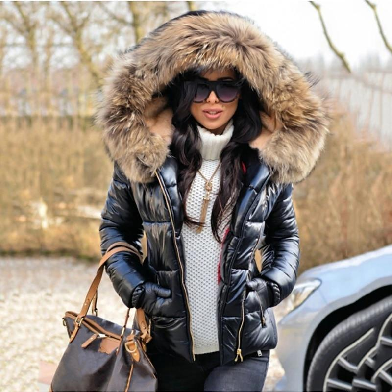 Nter 2020 black woman jacket fur hooded long sleeve thick coats female zipper casual solid color